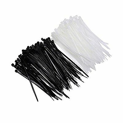d54a28a17db1 100 x Cable Ties Black, White Heavy Duty Nylon Plastic Zip Wire Loop 2.5 -