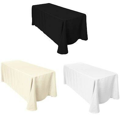 Rectangle Plain Table Cloth Cotton Wedding Dining Tableware Linen 90 x 132 Inch