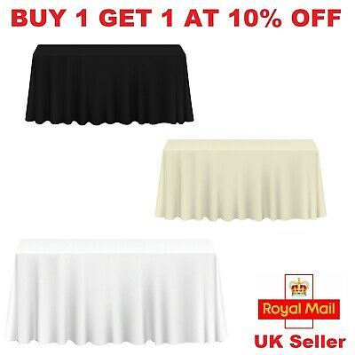 Rectangle Plain Table Cloth Cotton Wedding Dining Tableware Linen 70 x 126 Inch