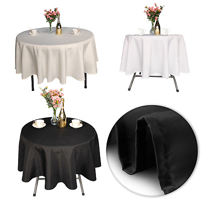 Round Plain Table Cover Cloth Cotton Wedding Dining Tableware Linen 120 Inch