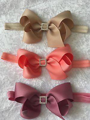 Big Bow With Buckle Diamante Baby Girls Headband Hair Accessories Babygirl + Lot
