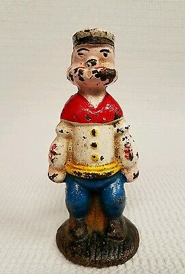 "Popeye The Sailor Man 4.75"" Vintage Cast Iron Penny Coin Bank"