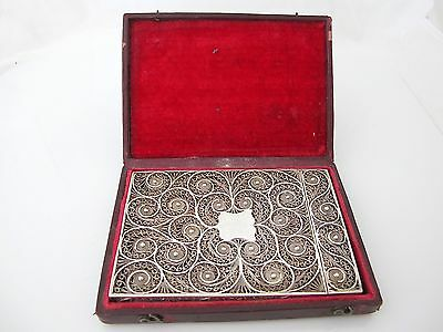 Outstanding Georgian silver filigree card case in original box, Birmingham c1820