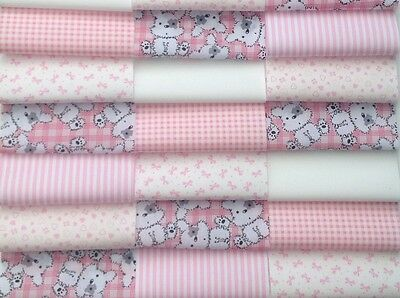 """Fabric patchwork squares 30 x 4""""  (10cm) cotton quilting craft baby girl pink 7V"""