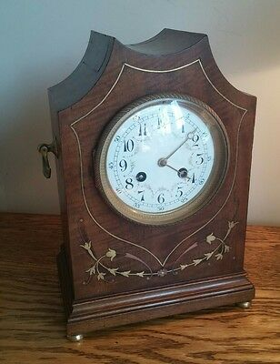 ATTRACTIVE FRENCH 8-DAY MAHOGANY AND BRASS INLAID ART NOUVEAU MANTEL CLOCK c1895