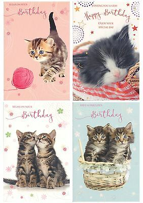 Traditional Cute Cuddly Pussy Cats Kittens Open Birthday Cards 1Stpp