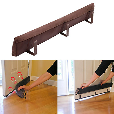 Brown Magnetic Clip Door Draft Guard Cold Air Stopper Energy Saver Home Decor