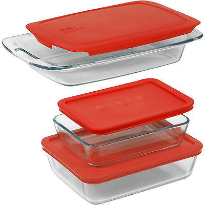 Pyrex 6-Piece Easy Grab Value Pack with Plastic Covers, Glass, Red Set Bakeware