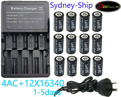 12x 3.7V CR123A 16340+Charger Rechargeable Battey Fit LED Torch FlashLight by AU