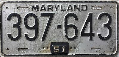 GENUINE 1948 1951 Tab Maryland American USA License Licence Number Plate 397-643