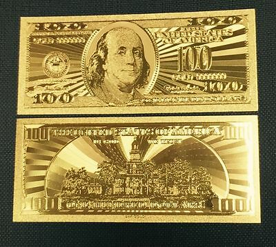 Billets plaqués OR ( GOLD Banknotes )  100 DOLLARS