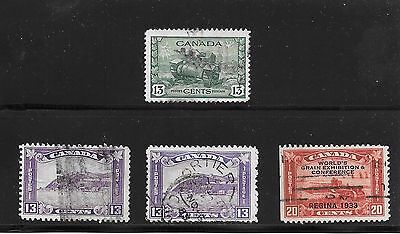 CANADA LOT of 4 USED STAMPS  # 201 (2) + 203 + 258