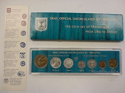 1980 ISRAEL OFFICIAL MINT SET 7 UNC COINS TRANSITION from LIRA to SHEQEL +COA #2