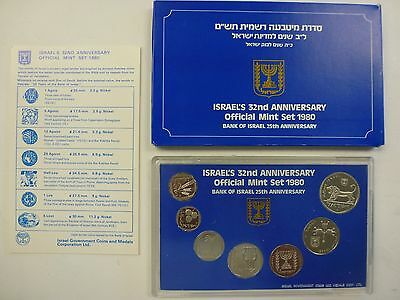 Official 1980 Israel's Mint Set of Coins - Israel's 32nd Anniversary