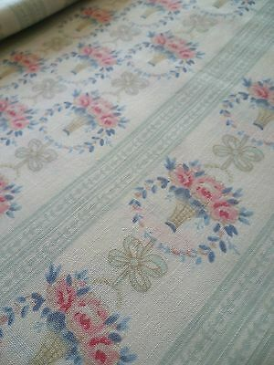 *~Stunning French Style *Rose Vases & Bows* Large Fabric Remnant~ *