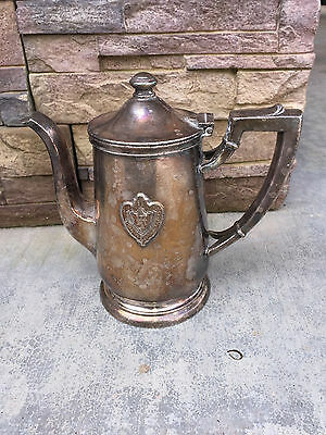 Antique CONRAD HILTON Silver Soldered Pitcher Coffee Pot With Hotel Advertising