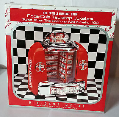 Coca Cola Enesco Metal Tabletop Jukebox Musical Bank  Nib