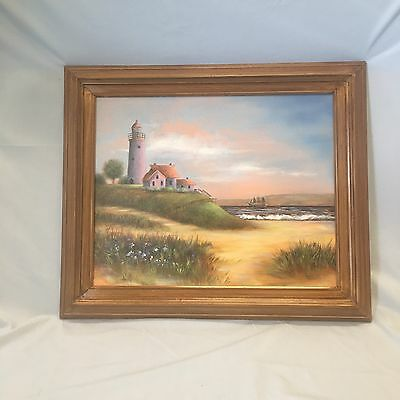 "16 X 20 Original Oil Painting ""By The Sea"" Signed And Framed Barbara Wagner New"
