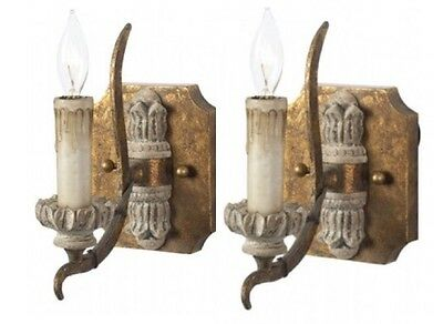 PAIR Aidan Gray Single Arm Helette Wall Sconces Antique French Style