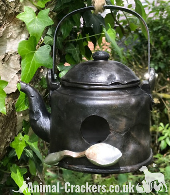 Novelty battered old Kettle bird house/ nest box, easy clean, with rope hanger
