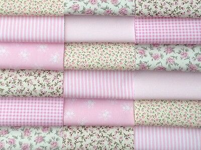 """Fabric patchwork squares 30 x 4"""" 10cm cotton quilting craft pink floral  6A"""