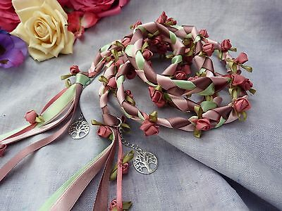 Hand fasting wedding binding cord pink Rosebuds tiny roses tree of life charms
