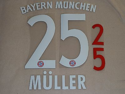 MULLER 25 Bayern Home Iron On Name & Number Set For Football Shirt / Jersey