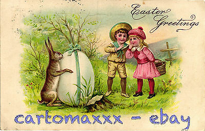 Buona Pasqua Easter Wishes Pâques - Rilievo Embossed - Coniglio Rabbit - P002