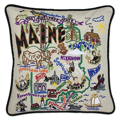 Maine Hand-Embroidered Pillow