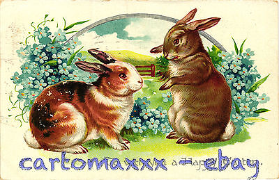 Buona Pasqua Easter Wishes Pâques - Rilievo Embossed - Conigli Rabbits - P014