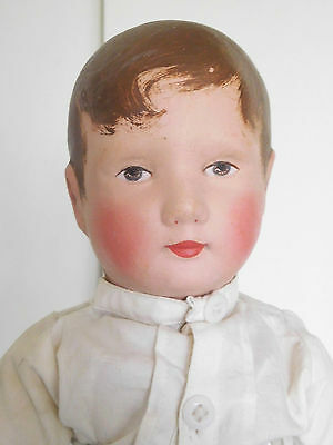 "Rare! 18"" Bing Oilcloth Cloth Boy Kruse Type w/ Composition Hands"