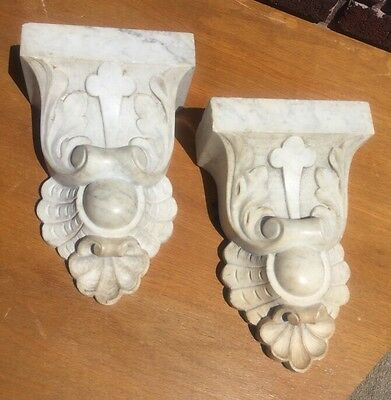 Pair Of Antique 19th Century Carved Marble Architectural Corbels Brackets Garden