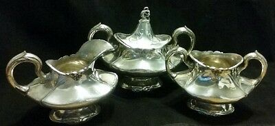 Art Nouveau Reed & Barton Pattern Tea 4 Pc Set 3710 Sugar with Lid Creamer Waste