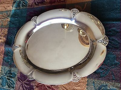 """Vintage WM Rogers #411 Oval Serving Silver Plated Platter Bread Tray 11.5x8.5"""""""