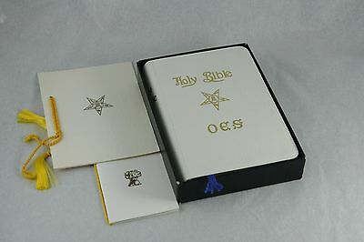 Vtg OES Bible Order of the Eastern Star White Faux Leather Eyre and Spottiswoode