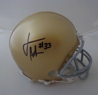 Josh Adams signed Notre Dame Irish mini helmet autographed
