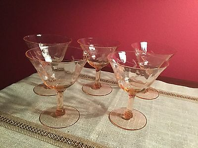 5 Antique Rare  Pink Crystal Glasses Cocktail / Wine Stemmed Etched Flowers