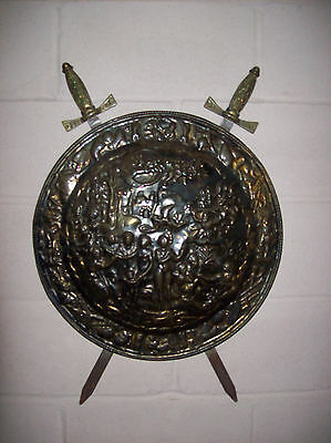Original Vintage Medieval Styled Brass Decorative Wall Plate with Cross Swords