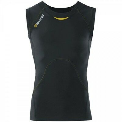 SKINS A400 Men's Sleeveless Top black with yellow sitching - B40001003