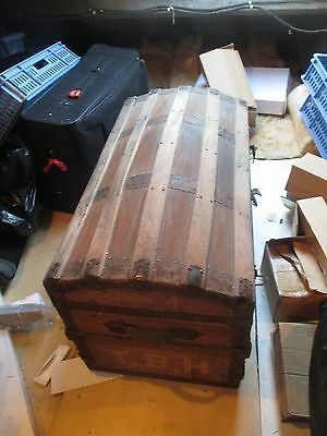 Seaman's Large Victorian Domed Travel Trunk, Chest, Antique,