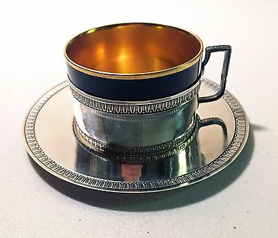 Henri Lapeyre French Sterling Silver Chocolate Cup Holder & Saucer with Insert