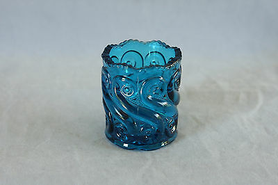 Lg Wright Deep Blue Colored Glass S Repeat Pattern Toothpick Holder