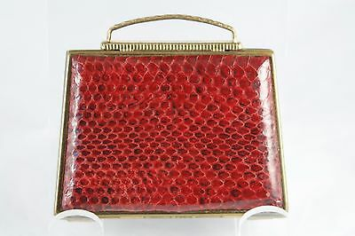 Vtg 30s 40s Mascot Powder Compact Valise Faux Snake Red Gold Tone