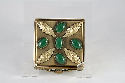 Vintage 40s G and S Gold Tone Square Compact with Green Glass Cabichons