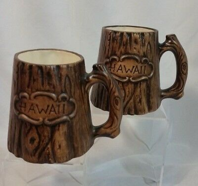 Tiki Hawaii Treasure Craft Tree Stump Trunk Mug Travel Souvenir Vintage