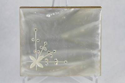 Vintage Pearlized Powder Compact Rhinestone Floral Rectangle