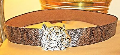 Gorgeous Vintage 1972 Mimi Di N Belt With Large Leopard Buckle / Signed