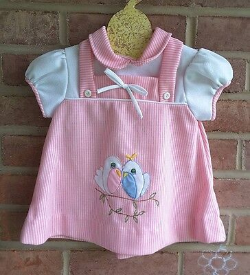 vintage baby dress / top Pink Embroidered Birds Size 12 mos