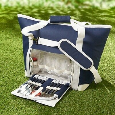New 4 Person Picnic Bag with Dinnerware outdoor Summer Hangout 27pc Navy