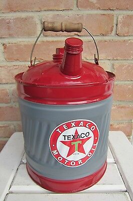 """""""Texaco Motor Oil"""" 2-Gallon Gas Can, Repainted, New 4"""" Sticker, Both Caps"""